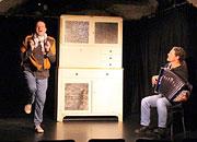 Photo d'une répétition du spectacle, Antoine LeRoy et Olivier Forel